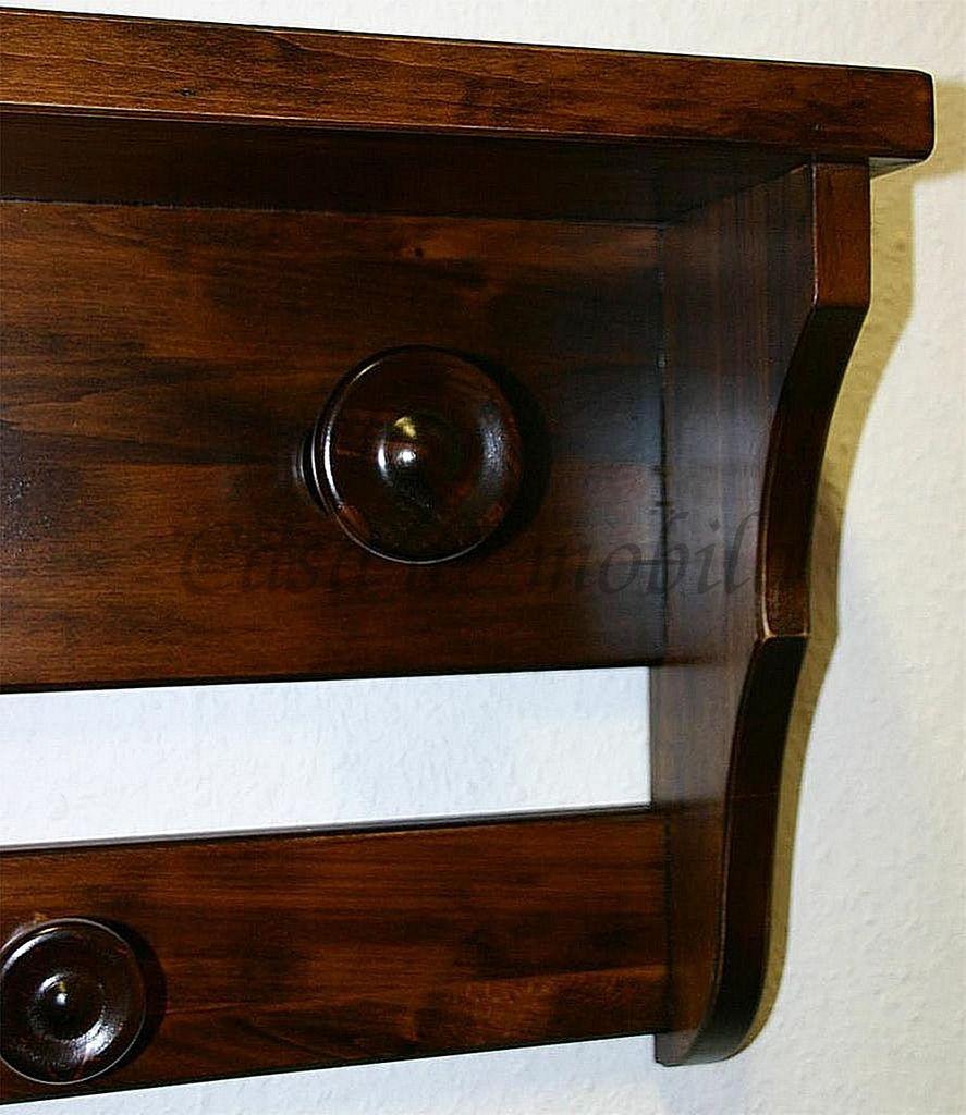 Wandgarderobe braun nussbaum Farbe Hängegarderobe Garderobe 7 Haken Vollholz massiv – Bild 8