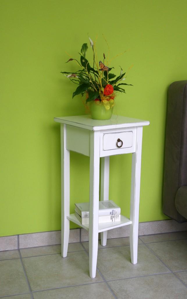 Beistelltisch weiß antik Blumentisch Vintage Blumenhocker Shabby-Chic 70cm Pappel massiv  – Bild 2