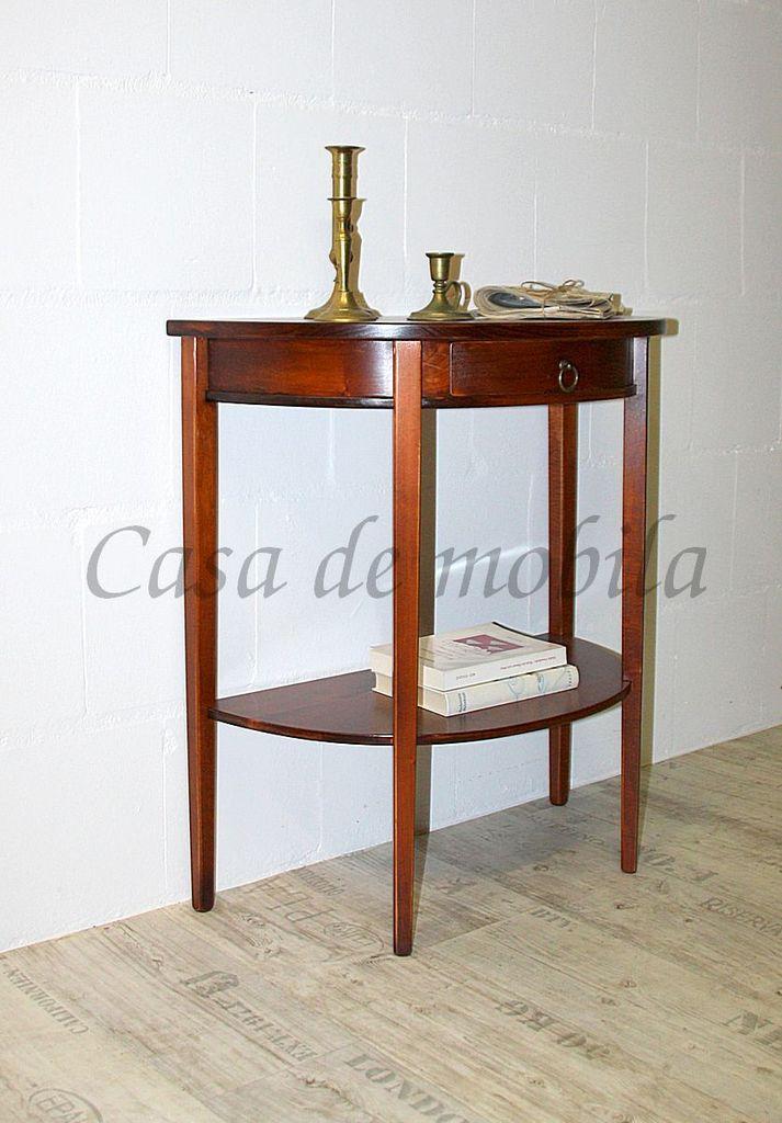 Konsolentisch Telefontisch Wandkonsole halbrund Vollholz massiv kirschbaumfarben – Bild 3
