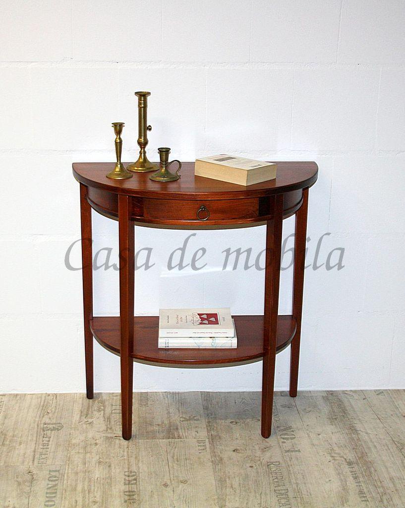 Konsolentisch Telefontisch Wandkonsole halbrund Vollholz massiv kirschbaumfarben – Bild 1