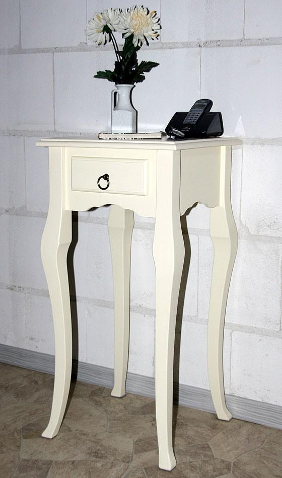 Wandtisch creme Telefontisch Beistelltisch 80x39 Vollholz massiv – Bild 8