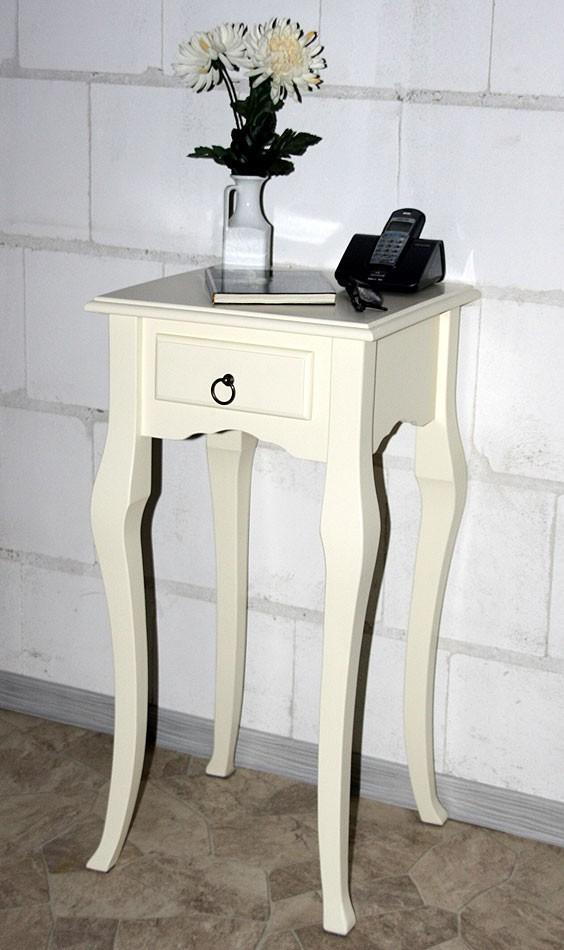 Wandtisch creme Telefontisch Beistelltisch 80x39 Vollholz massiv – Bild 9