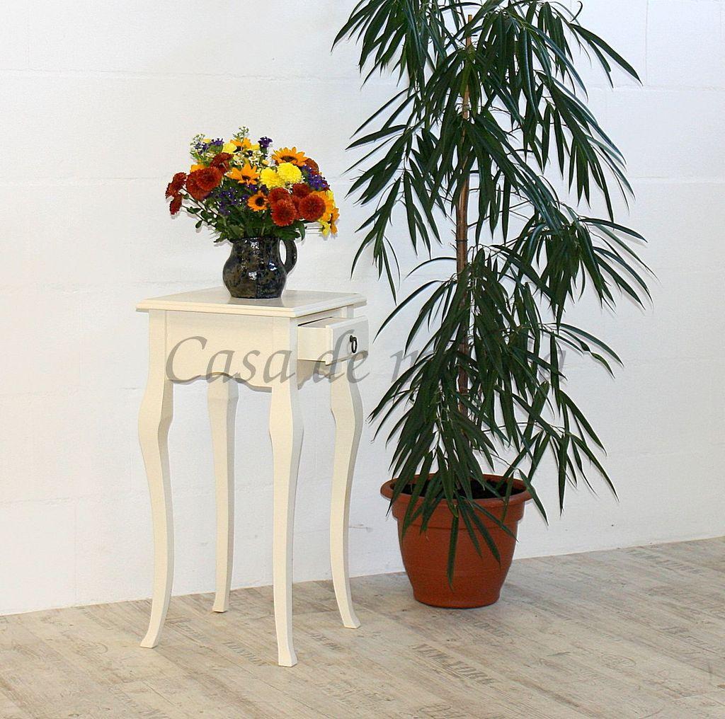 Wandtisch creme Telefontisch Beistelltisch 80x39 Vollholz massiv – Bild 2