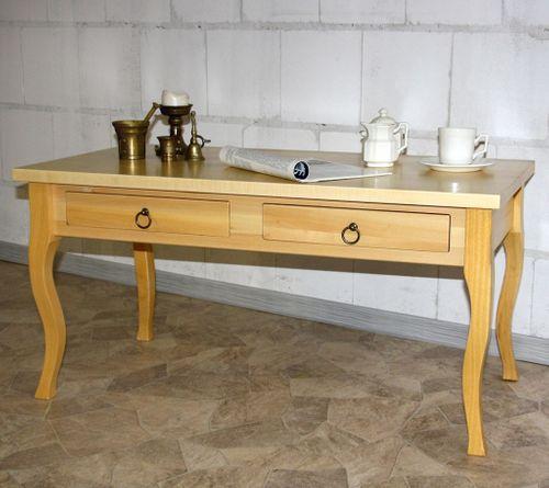 Couchtisch VENEZIA 98x48cm Massivholz Pappel natur lackiert 2 Schubladen