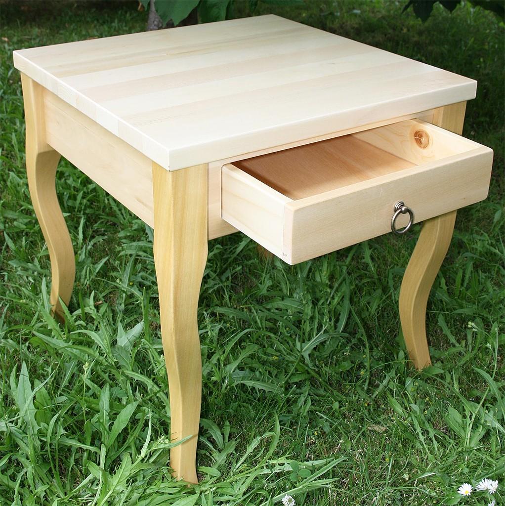 Beistelltisch natur lackiert Couchtisch mit Schublade Nachttisch 48x48 cm Nachtkommode Coffeetable – Bild 2