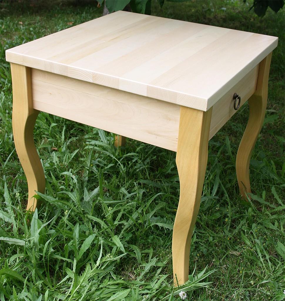 Beistelltisch natur lackiert Couchtisch mit Schublade Nachttisch 48x48 cm Nachtkommode Coffeetable – Bild 3
