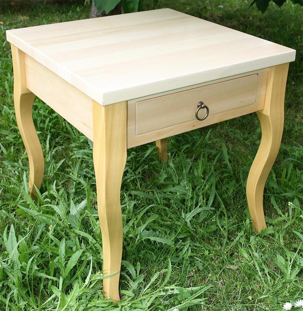 Beistelltisch natur lackiert Couchtisch mit Schublade Nachttisch 48x48 cm Nachtkommode Coffeetable – Bild 1