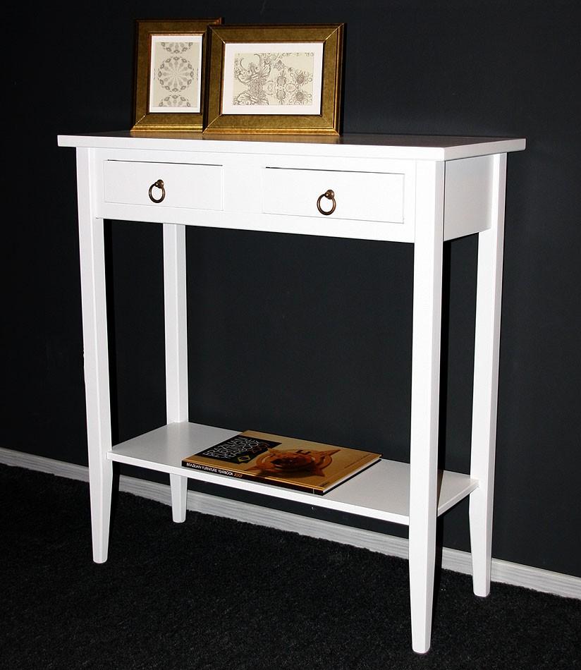 Konsolentisch Wandtisch Beistelltisch Telefontisch Holz massiv weiß – Bild 2