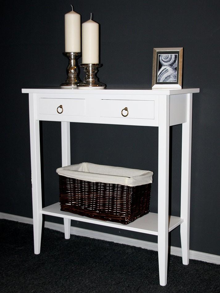 Konsolentisch Wandtisch Beistelltisch Telefontisch Holz massiv weiß – Bild 1