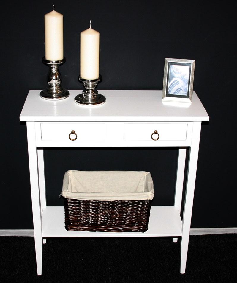Konsolentisch Wandtisch Beistelltisch Telefontisch Holz massiv weiß – Bild 3