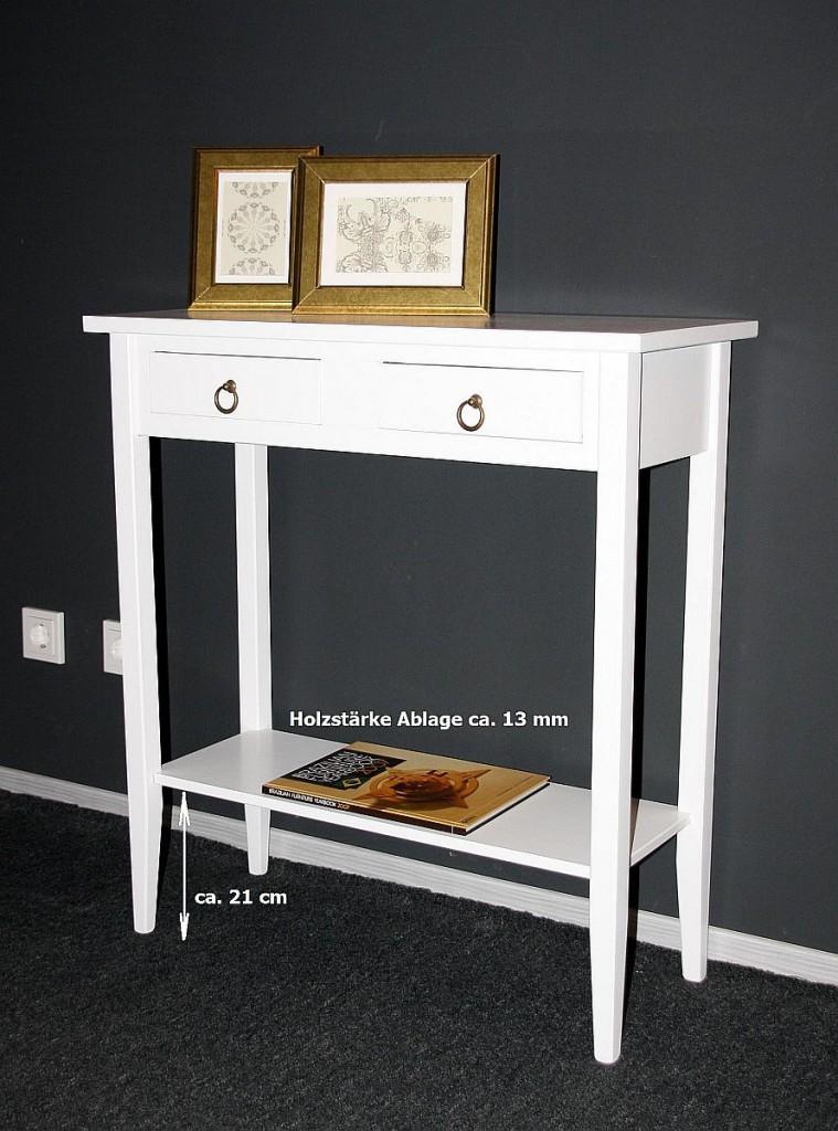Konsolentisch Wandtisch Beistelltisch Telefontisch Holz massiv weiß – Bild 6