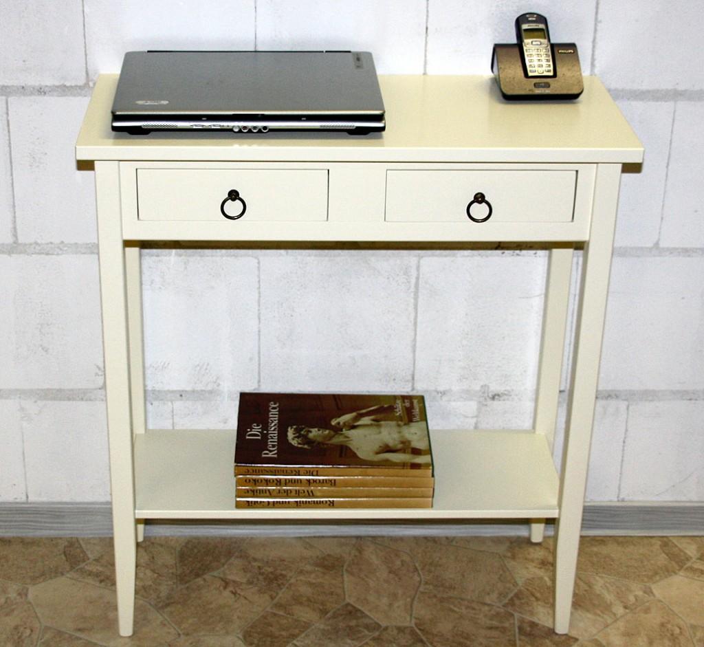 Konsolentisch DECOR 74x80x32cm Massivholz creme Telefontisch Beistelltisch – Bild 6