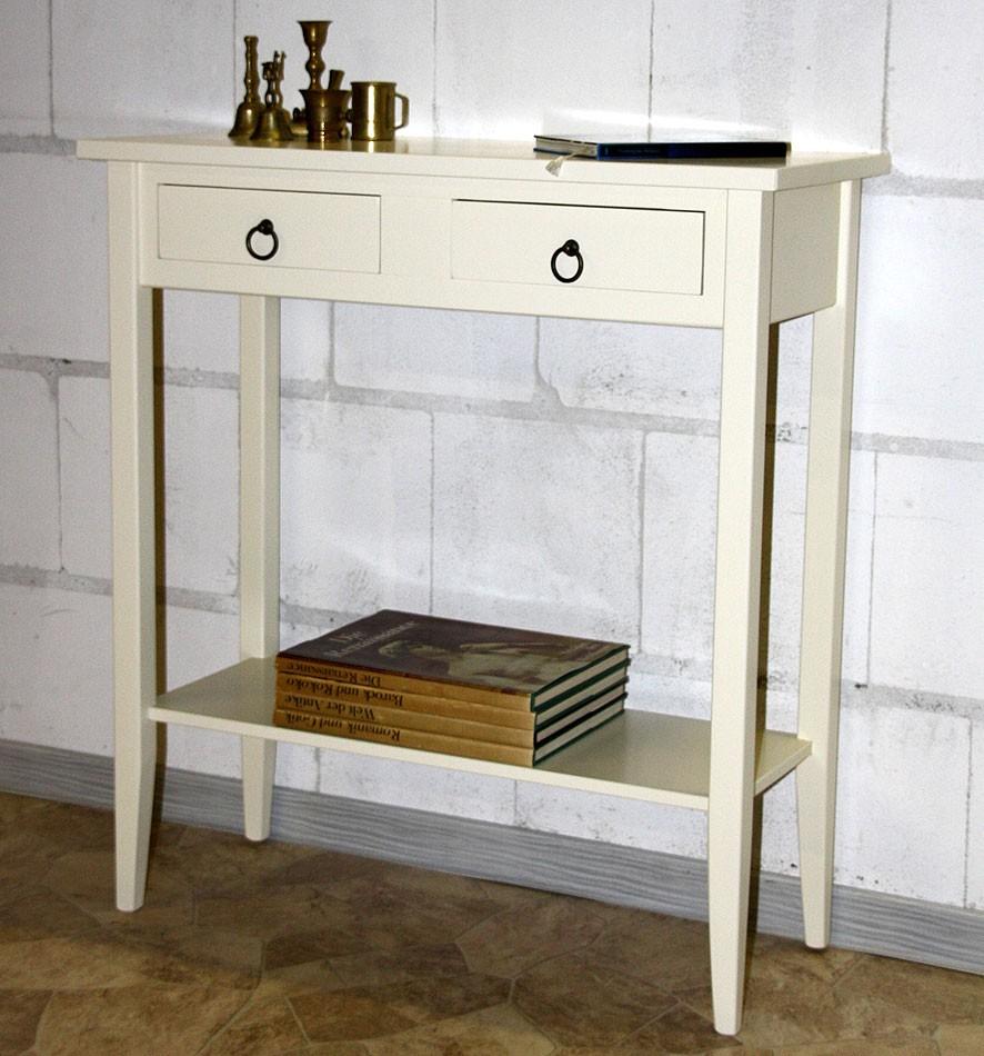Konsolentisch DECOR 74x80x32cm Massivholz creme Telefontisch Beistelltisch – Bild 5
