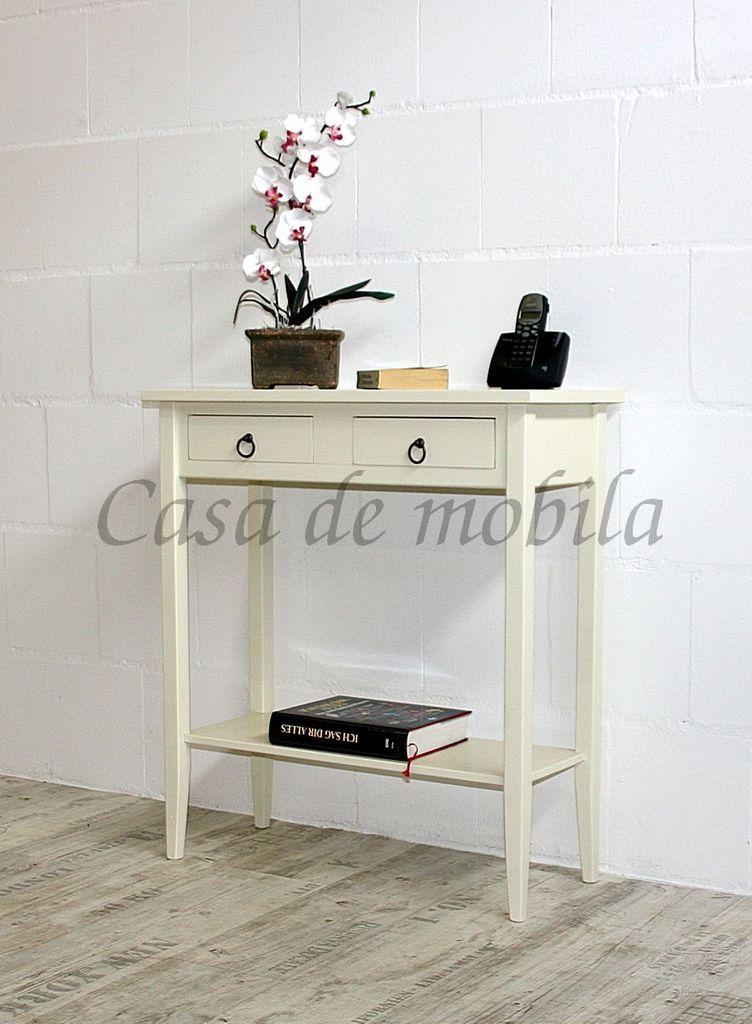 Konsolentisch DECOR 74x80x32cm Massivholz creme Telefontisch Beistelltisch – Bild 1