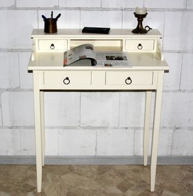 Sekretär Schreibtisch Schminktisch PC-Tisch Holz massiv creme 001