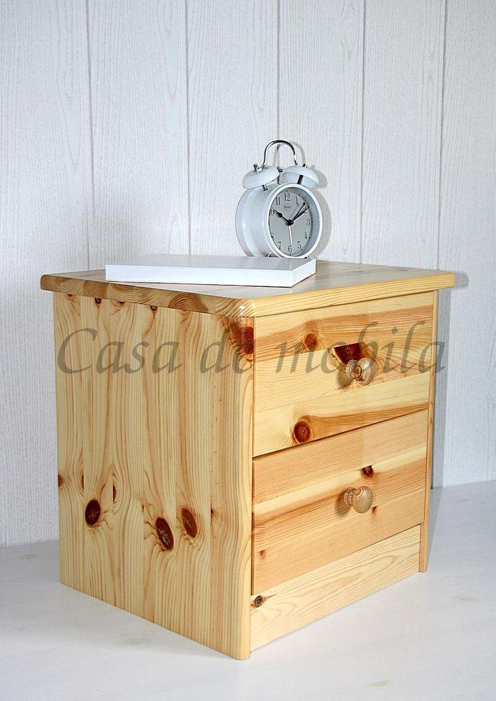 Nachtkommode Nachtschrank Nachttisch natur lackiert Kiefer massiv Holz – Bild 3
