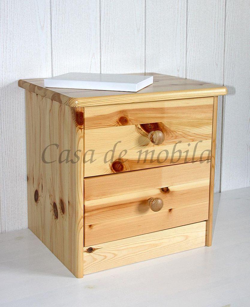 nachtkommode 42x41x35cm 2 schubladen kiefer massiv natur lackiert. Black Bedroom Furniture Sets. Home Design Ideas
