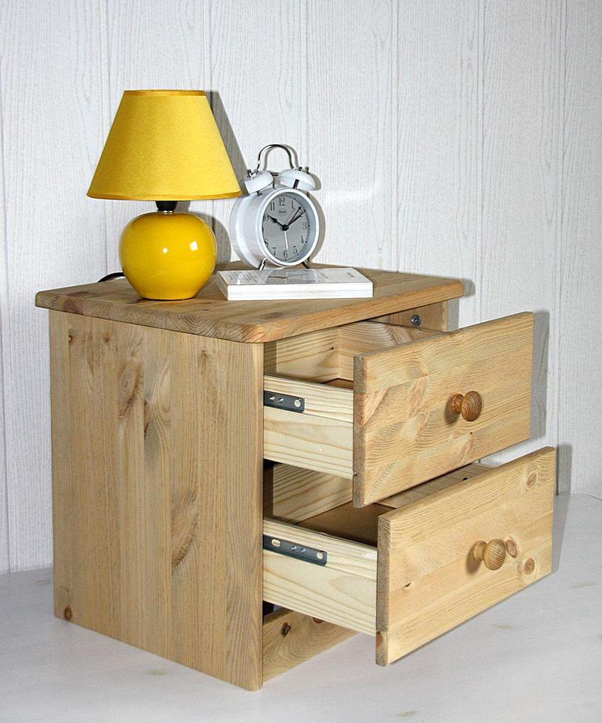 Nachtkommode Nachtschrank Nachttisch - Holz Kiefer massiv gelaugt – Bild 4