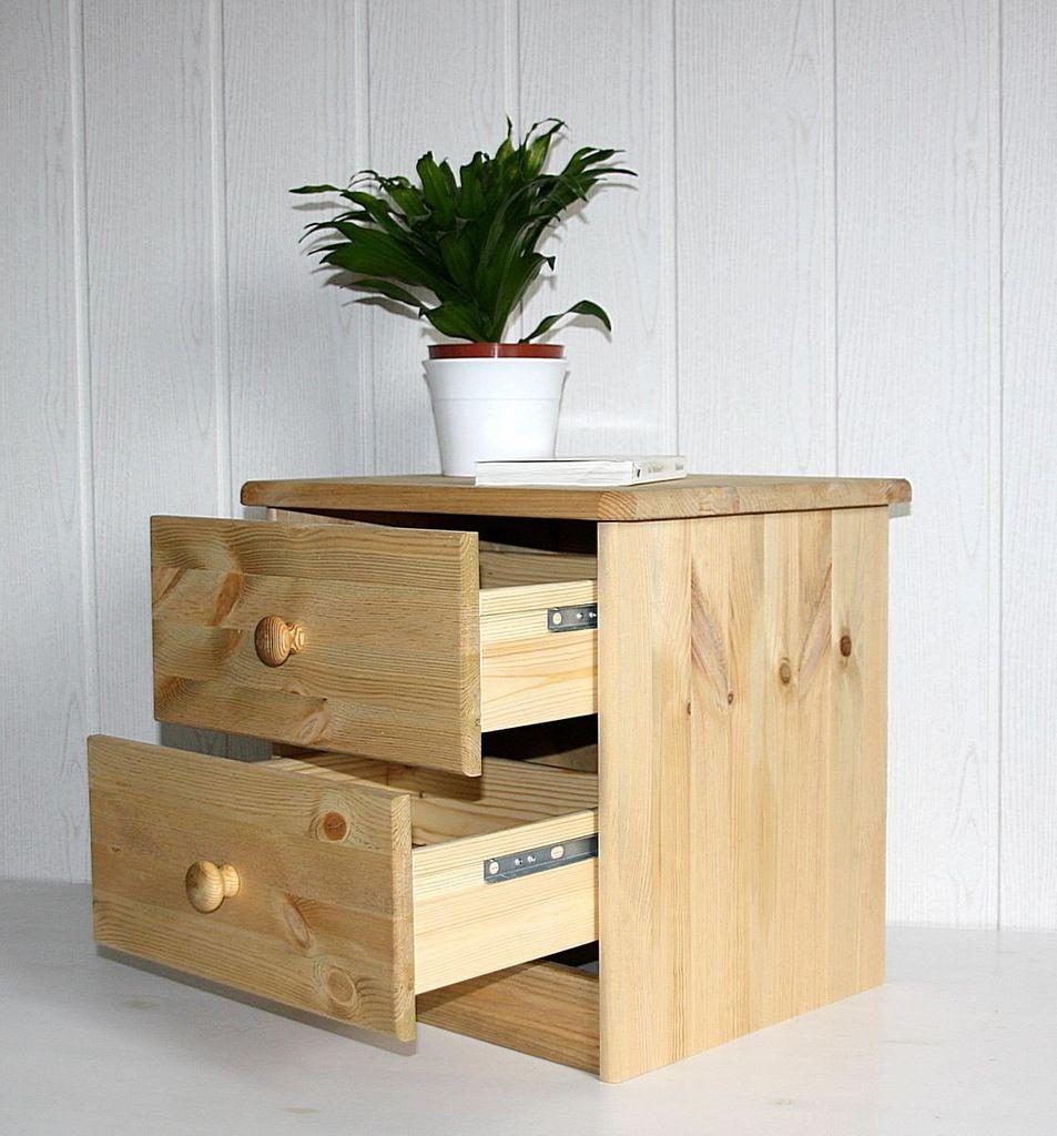 Nachtkommode Nachtschrank Nachttisch - Holz Kiefer massiv gelaugt – Bild 6