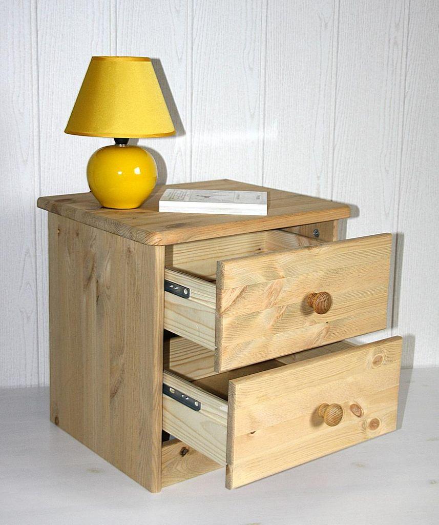 Nachtkommode Nachtschrank Nachttisch - Holz Kiefer massiv gelaugt – Bild 7