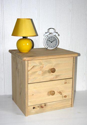 Nachtkommode Nachtschrank Nachttisch - Holz Kiefer massiv gelaugt – Bild 1
