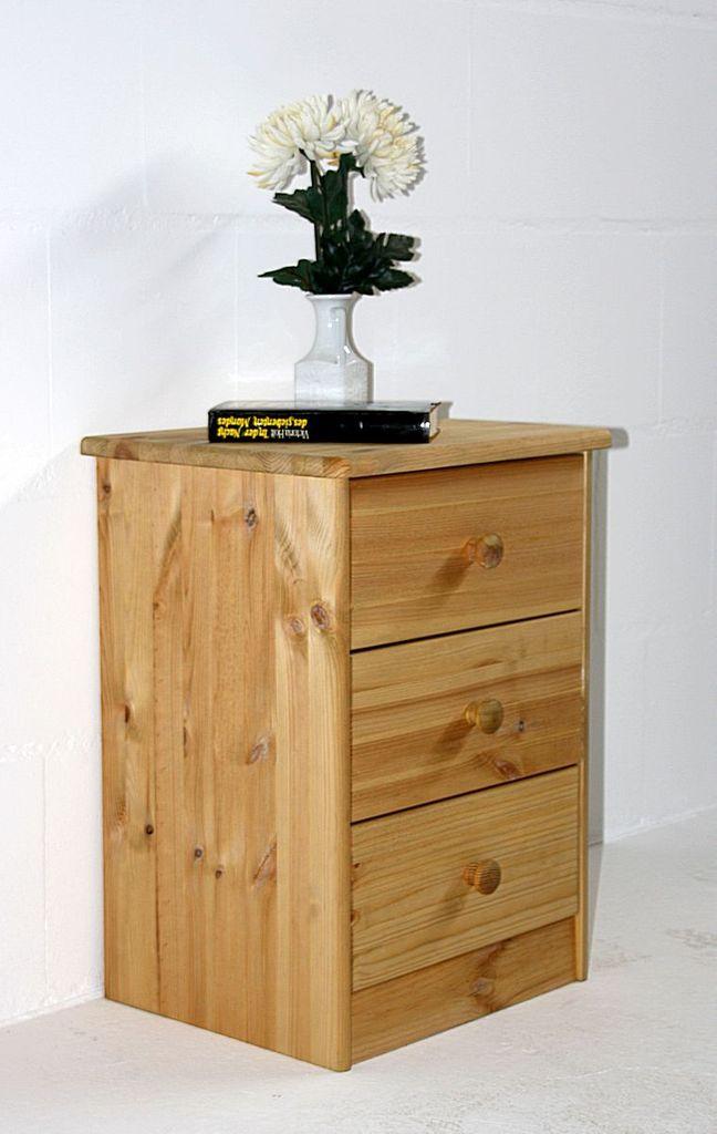 nachtkommode 42x57x35cm 3 schubladen kiefer massiv. Black Bedroom Furniture Sets. Home Design Ideas