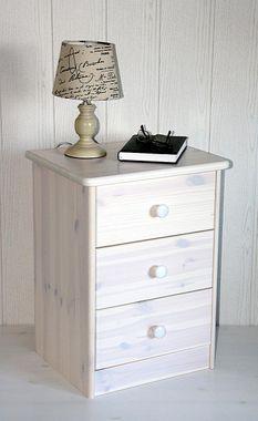 Nachtschrank Kiefer Nachtkommode massiv Nachttisch weiß gewischt Nachtkonsole 001