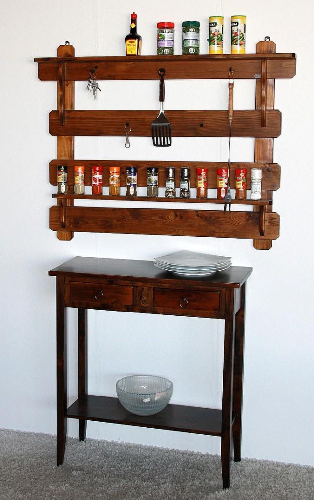 Küchenregal Gewürzregal Gewürzboard Fichte massiv braun nussbaum Farbe – Bild 4
