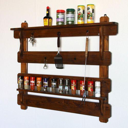 Küchenregal Gewürzregal Gewürzboard Fichte massiv braun nussbaum Farbe – Bild 1