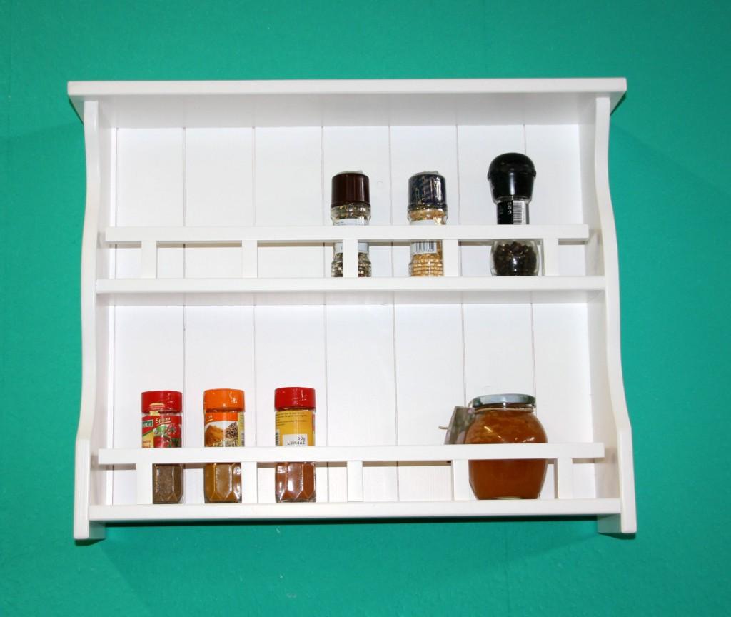 Gewürzregal weiß Gewürzhalter 58cm Gewürzboard Vollholz Küchenregal mit 2 Ablagen – Bild 1