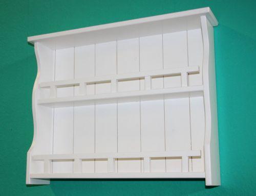Gewürzregal weiß Gewürzhalter 58cm Gewürzboard Vollholz Küchenregal mit 2 Ablagen – Bild 5