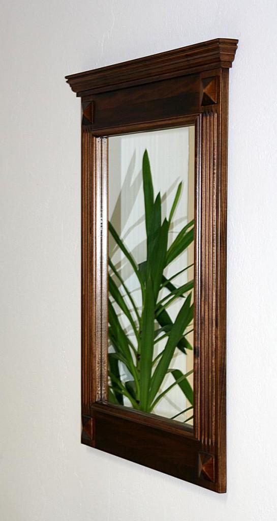 Spiegel mit Vollholzrahmen Wandspiegel 60x83 Flurspiegel massiv braun nussbaum Farbe – Bild 2