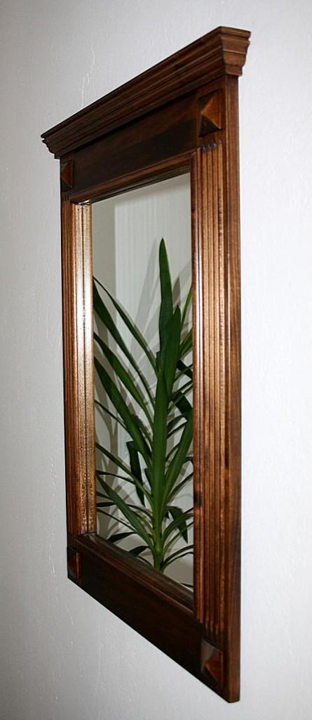 Spiegel mit Vollholzrahmen Wandspiegel 60x83 Flurspiegel massiv braun nussbaum Farbe – Bild 4