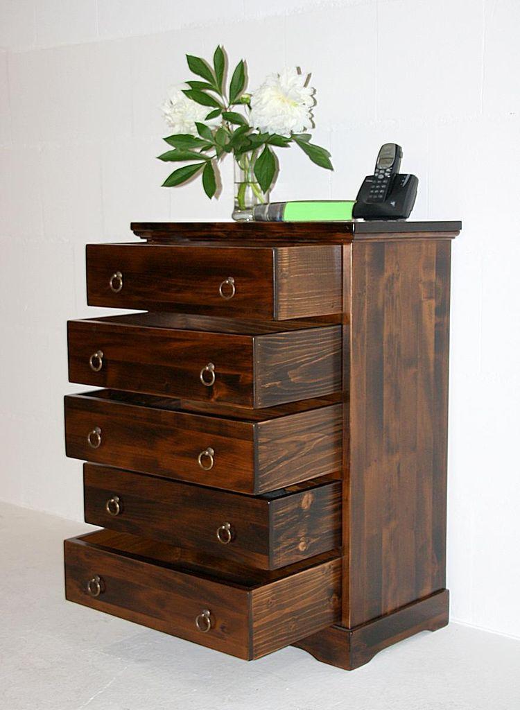 Schubladenkommode Büromöbel mit 5 Schubladen Pappel braun nussbaum Farbe – Bild 3