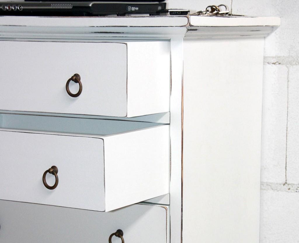 Kommode 60x90x38cm, 5 Schubladen, Pappel massiv weiß antik lackiert