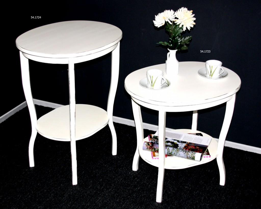 beistelltisch oval 58x57x48cm pappel massiv wei antik. Black Bedroom Furniture Sets. Home Design Ideas