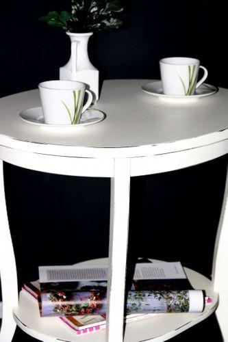 Tisch Beistelltisch Teetisch oval 57 cm - Holz massiv weiß antik – Bild 3