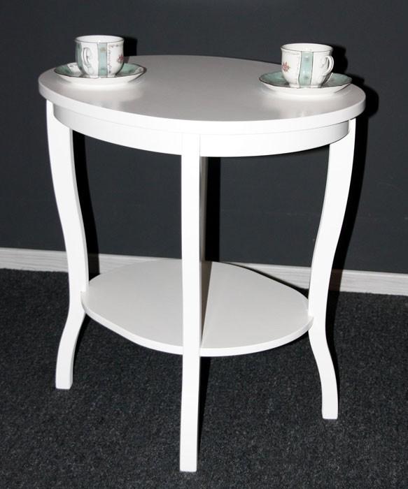 Tisch Beistelltisch Teetisch oval 57 - Holz massiv weiß – Bild 3