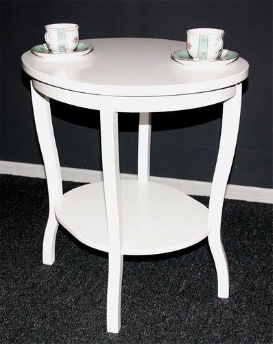 Tisch Beistelltisch Teetisch oval 57 - Holz massiv weiß – Bild 1