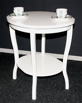 Beistelltisch oval 58x57x48cm, Pappel massiv weiß lackiert