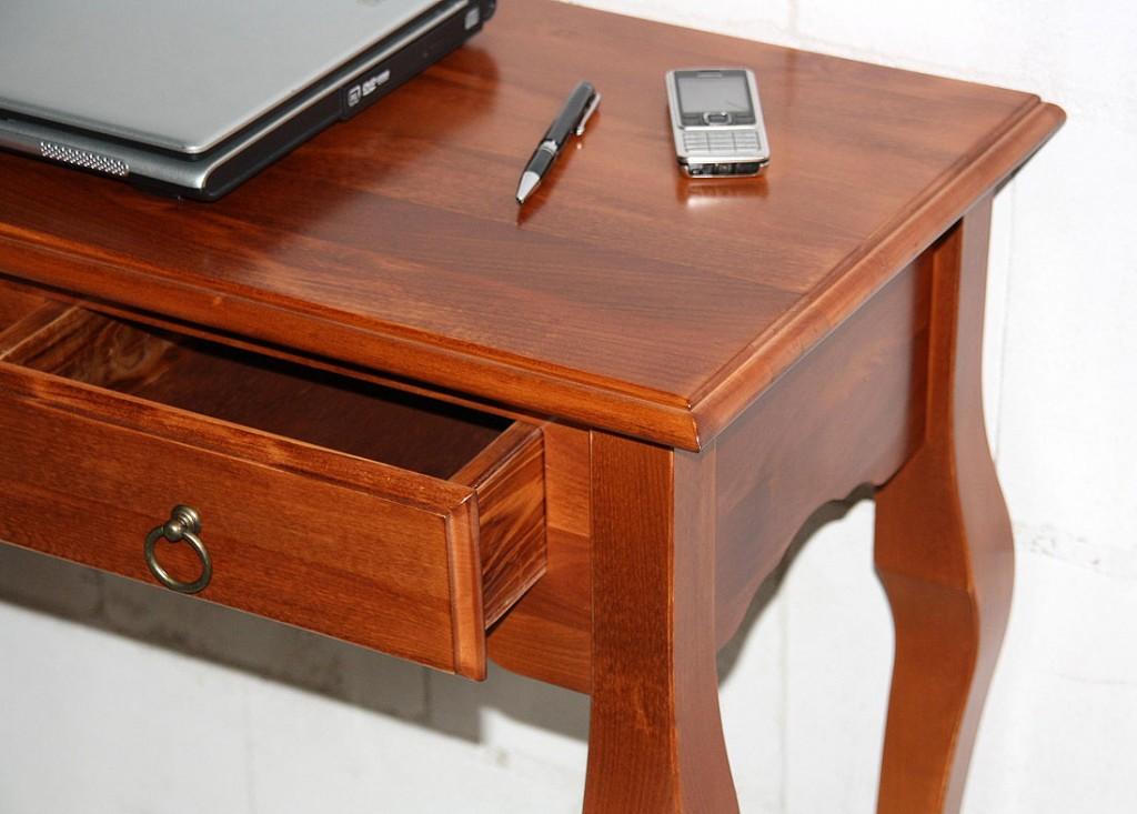 konsolentisch 79x80x39cm 2 schubladen pappel massiv kirschbaumfarben lackiert. Black Bedroom Furniture Sets. Home Design Ideas