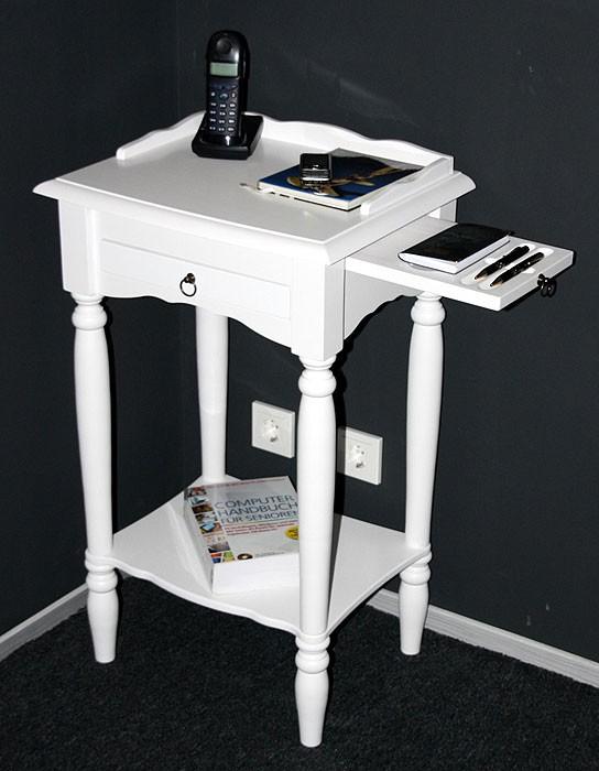 Konsolentisch weiß Telefontisch mit Stiftablage Beistelltisch 81x49 cm Pappel massiv Wandtisch mit Schublade – Bild 1