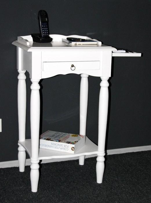 Konsolentisch weiß Telefontisch mit Stiftablage Beistelltisch 81x49 cm Pappel massiv Wandtisch mit Schublade – Bild 3