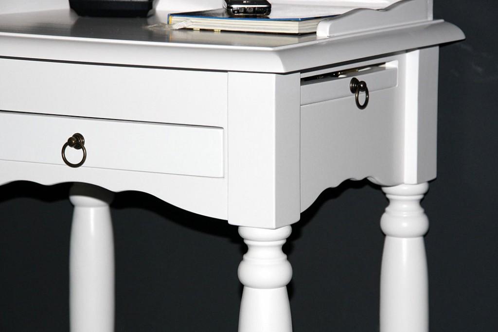 Konsolentisch weiß Telefontisch mit Stiftablage Beistelltisch 81x49 cm Pappel massiv Wandtisch mit Schublade – Bild 4