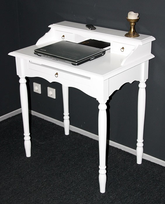 Details zu Massivholz Sekretär weiß Schreibtisch Damen tisch Landhaus Stil  Computertisch