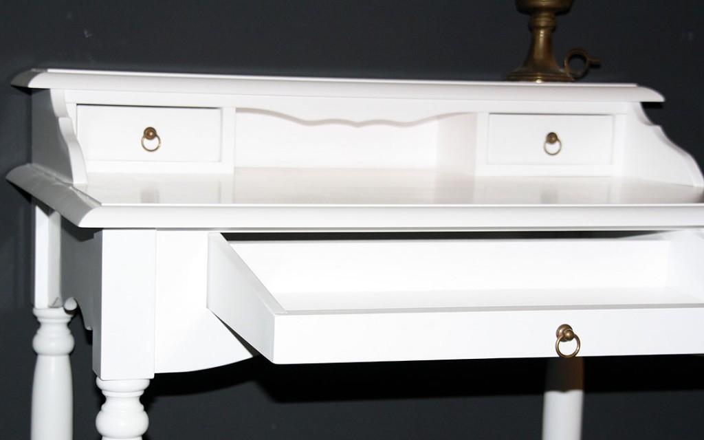 Sekretär weiß Schreibtisch Konsolentisch massiv Holz lackiert – Bild 2
