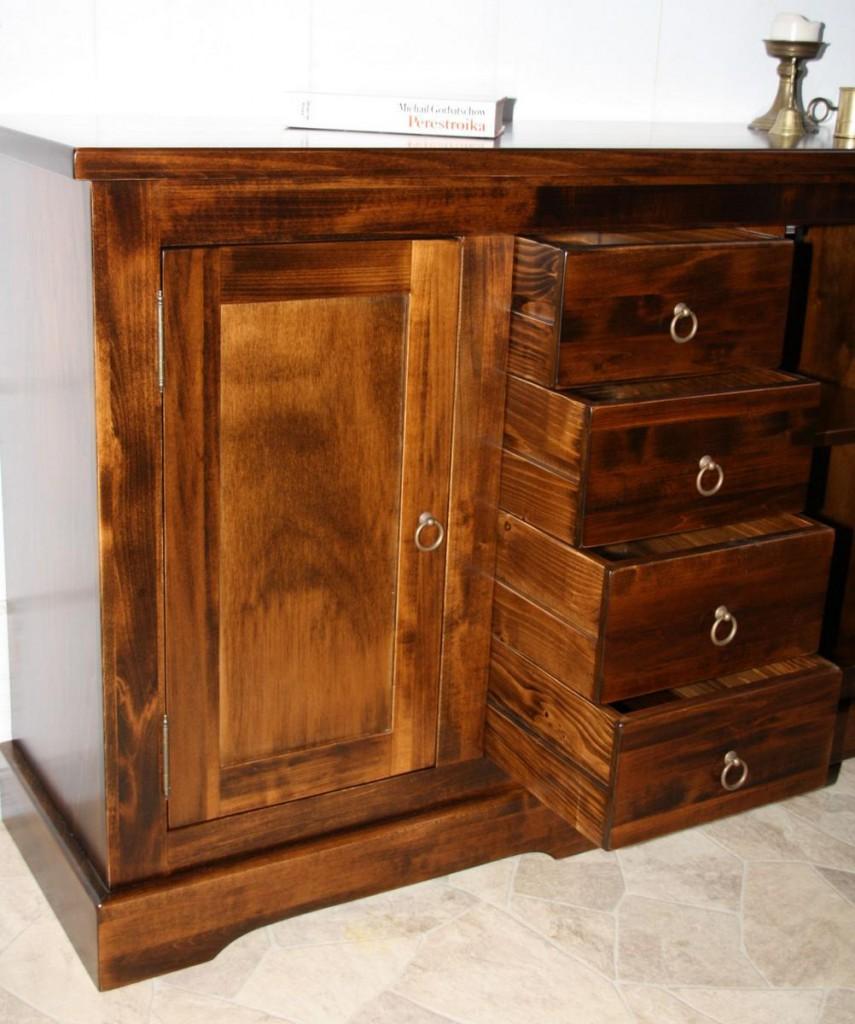 Kommode 2türig mit 4 Schubladen Sideboard, Pappel braun nussbaum Farbe – Bild 10