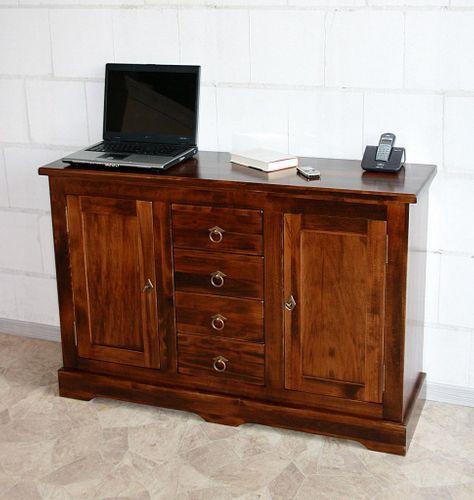 Kommode 2türig mit 4 Schubladen Sideboard, Pappel braun nussbaum Farbe – Bild 1