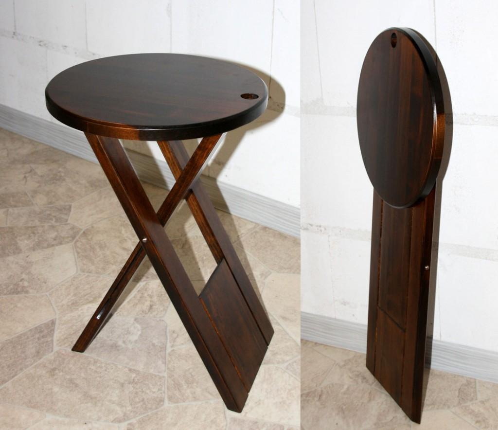 Hocker Klapphocker Blumenhocker Nachttisch Beistelltisch braun nussbaum Farbe – Bild 2
