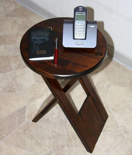 Hocker Klapphocker Blumenhocker Nachttisch Beistelltisch braun nussbaum Farbe – Bild 9